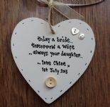 Shabby personalised Chic Heart Plaque Mother Of The Bride Wedding Present Gift.